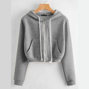 Shein Kangaroo Pocket Zip Up Drawstring Hoodie - 6
